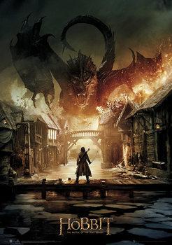 Hobbitten 3: Femhæreslaget - Smaug Metallic plakat