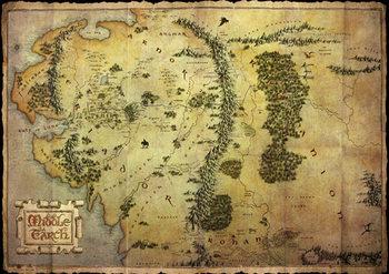 Hobit - mapa Středozemě (mettalic) - Metalický plakát