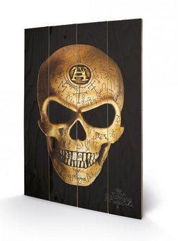 ALCHEMY - omega skull kunst op hout