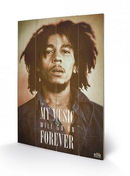 Bob Marley - Music Forever kunst op hout
