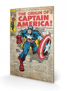Captain America - Origin kunst op hout