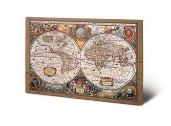 Historische Wereldkaart - Wandkaart kunst op hout