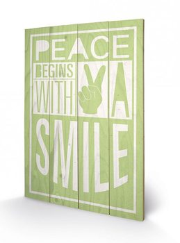 Sarah Winter - Peace Begins With A Smile kunst op hout