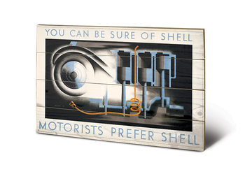 Shell - Motorists Prefer Shell kunst op hout