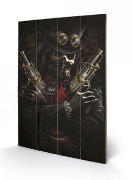 SPIRAL - steampunk bandit kunst op hout