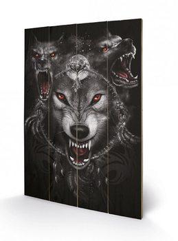 SPIRAL - wolf triad kunst op hout