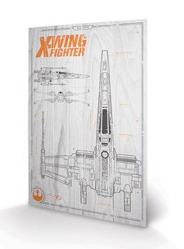 Star Wars Episode VII - X Wing Plans kunst op hout