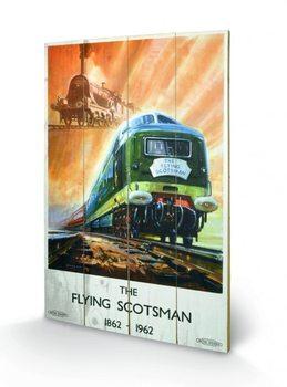 Stoomlocomotief - The Flying Scotsman kunst op hout