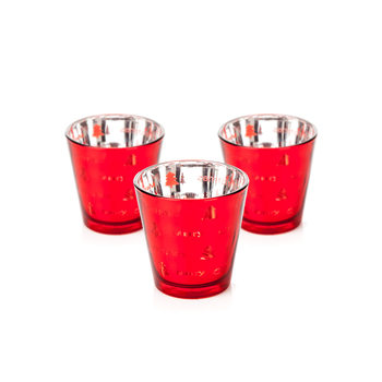 Candle Holder Narrow Merry Xmas Red 7 cm, set of 3 pcs Huis Decoratie