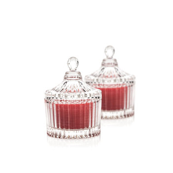 Candle in Glass-Cranberry+Cinnamon, Red 9 cm, set of 2 pcs Huis Decoratie
