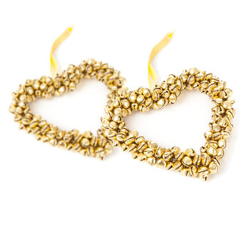 Heart with Gold Bells, 10 cm, set of 2 pcs Huis Decoratie