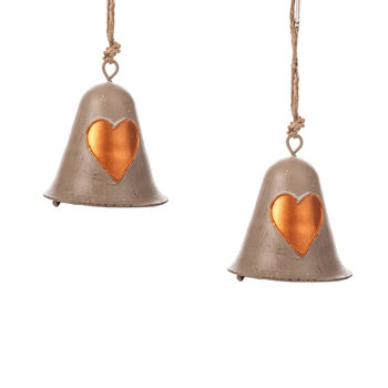 Metal Bell Bronze Heart, 8 cm, set of 2 pcs Huis Decoratie