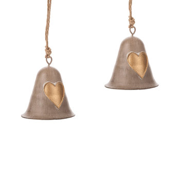 Metal Bell Gold Heart, 8 cm, set of 2 pcs Huis Decoratie