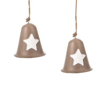 Metal Bell White Star, 8 cm, set of 2 pcs Huis Decoratie