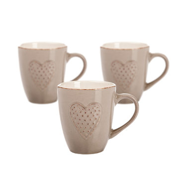 Mug Brown Embossed Heart 300 ml, set of 3 pcs Huis Decoratie