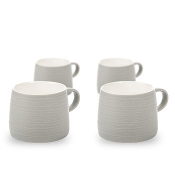Mug Grainy Texture, 300 ml Light Gray, set of 4 pcs Huis Decoratie