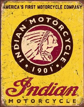 INDIAN MOTORCYCLES - Since 1901  Metalen Wandplaat