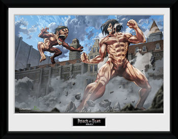 Attack On Titan - Titan Fight ingelijste poster met glas
