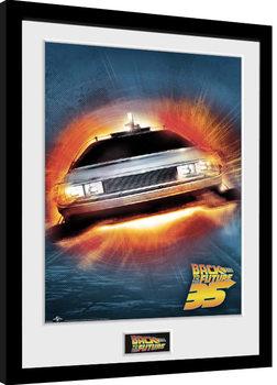 Ingelijste poster Back To The Future - 35th Delorean