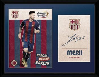 Barcelona - Messi Vintage 16/17 ingelijste poster met glas