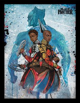 Ingelijste poster Black Panther - Characters Paint Stroke