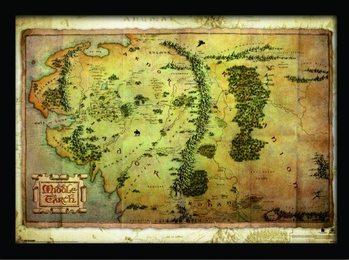 De Hobbit - Kaart Van Midden-Aarde ingelijste poster met glas