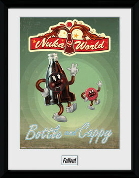 Fallout - Bottle and Cappy ingelijste poster met glas