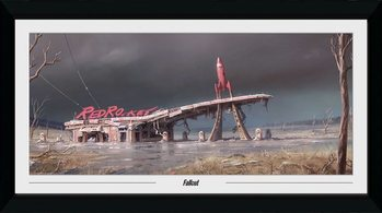 Ingelijste poster Fallout - Red Rocket