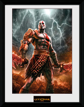 God of War - Kratos Lightening ingelijste poster met glas