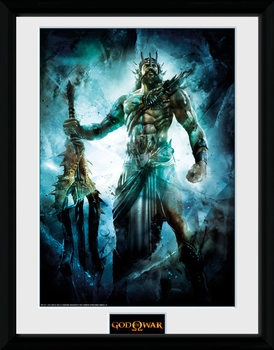 God of War - Poseidon ingelijste poster met glas