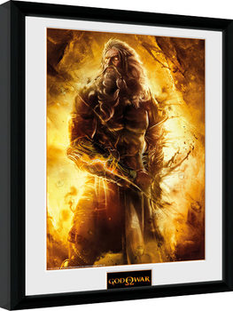 God of War - Zeus ingelijste poster met glas