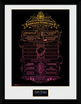 Harry Potter - Hogwarts List Ingelijste poster