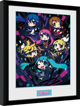 Hatsune Miku - Neon Chibi ingelijste poster met glas