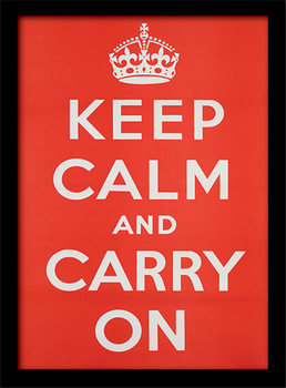 Keep Calm and Carry On ingelijste poster met glas