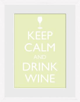 Keep Calm - Wine (White) Ingelijste poster