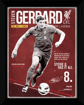 Liverpool - Gerrard Retro Ingelijste poster