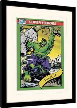 Ingelijste poster Marvel Comics - Hulk Trading Card