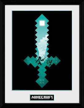 Minecraft - Diamond Sword ingelijste poster met glas