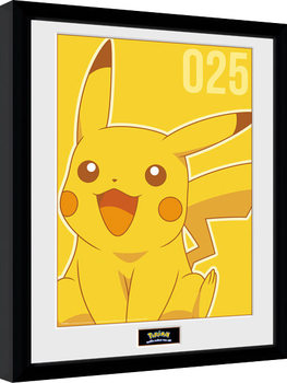 Ingelijste poster Pokemon - Pikachu Mono