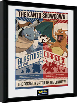 Ingelijste poster Pokemon - Red V Blue