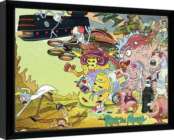 Ingelijste poster Rick & Morty - Creature Barrage