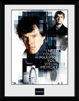 Sherlock - Memory ingelijste poster met glas