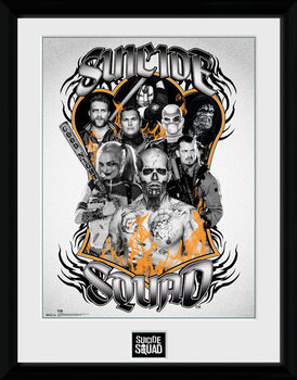 Suicide Squad - Group Orange Flame ingelijste poster met glas