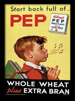 Vintage Kelloggs - Start Back Full Of Pep ingelijste poster met glas