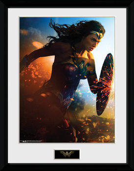 Wonder Woman - Run ingelijste poster met glas