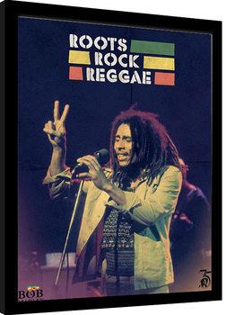 Innrammet plakat Bob Marley - Roots Rock Reggae