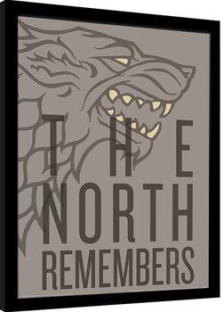Innrammet plakat Game of Thrones - The North Remembers