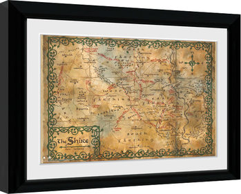Innrammet plakat Hobbit - Map