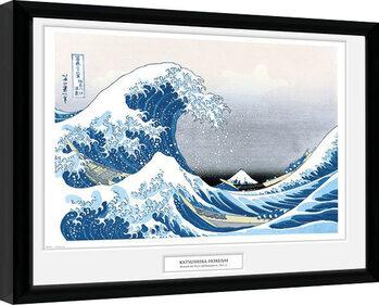 Innrammet plakat Hokusai - Great Wave
