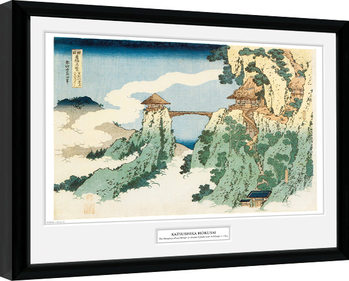 Innrammet plakat Hokusai - The Hanging Cloud Bridge